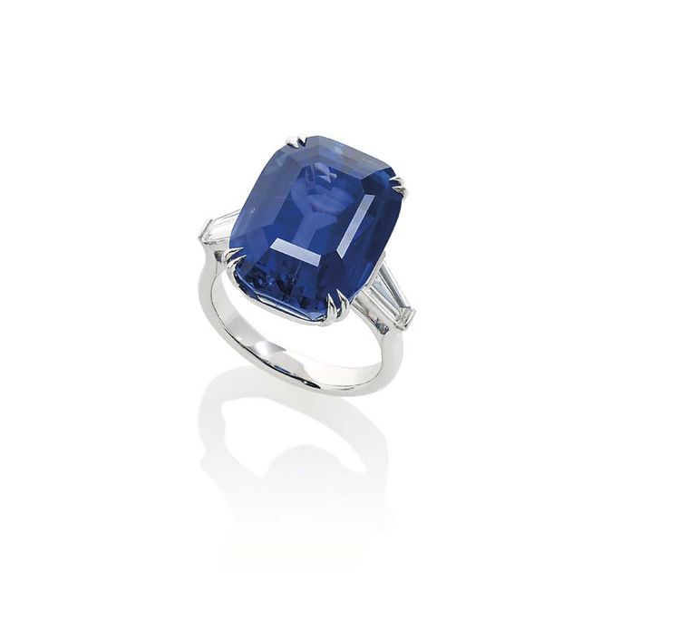 Lot 434, a 23.00ct Ceylon sapphire ring, flanked by diamonds (estimate: £140,000-180,000), makes up a very special trio of sapphires at Christie's Important Jewels sale in London on 26 November 2014.