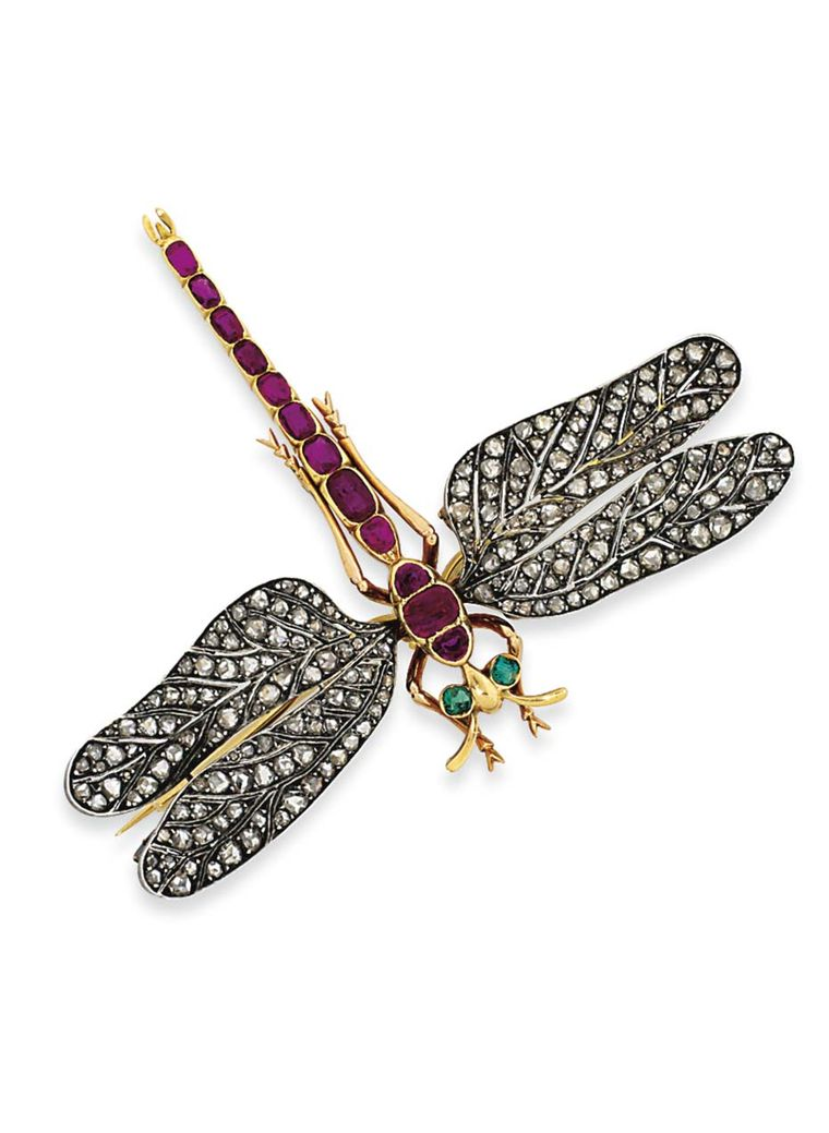 Lot 4, a dragonfly brooch dating from the late 19th century, looks real enough to flutter its wings (estimate: £5,000-7,000). Christie's Important Jewels Sale on 26 November at King Street in London.