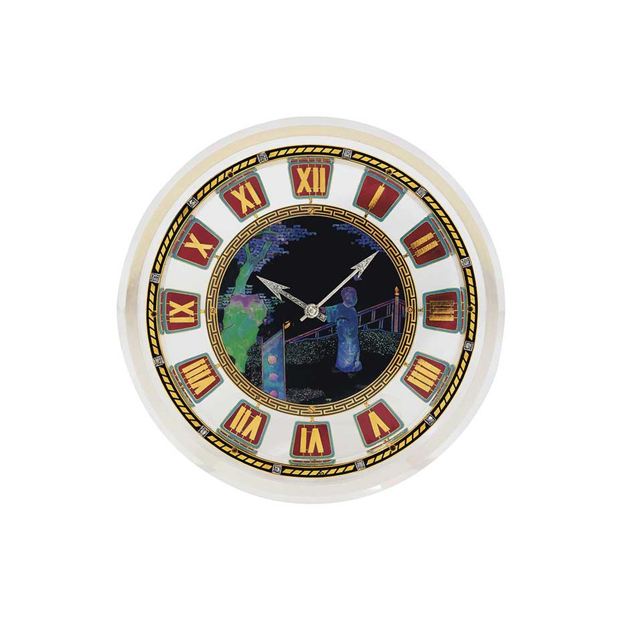 Lot 239 is a stylish Cartier clock dating from circa 1925 crafted from rock crystal, enamel, mother-of-pearl and diamonds (estimate: £40,000-60,000). Christie's Important Jewels Sale on 26 November at King Street in London.