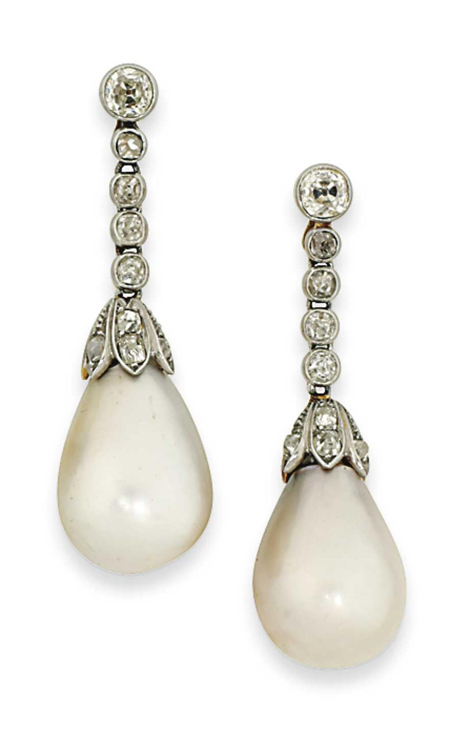 Lot 43 is a pair of 19th century natural pearl and diamond earrings (estimate: £30,000-40,000). Christie's Important Jewels Sale on 26 November at King Street in London.