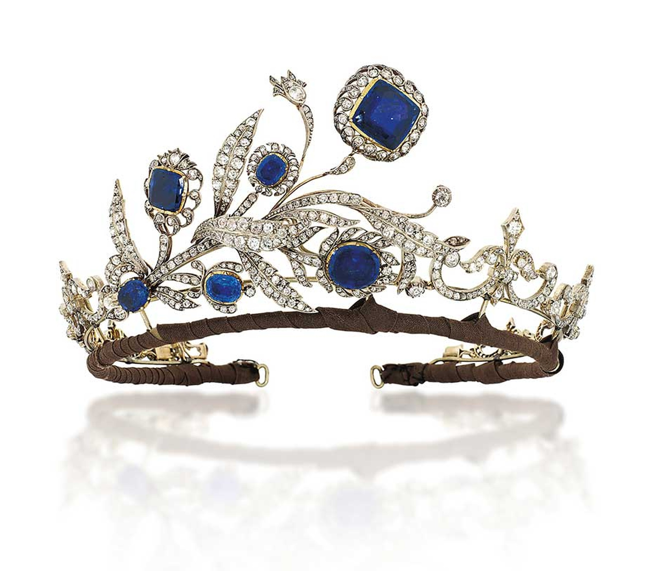 Lot 248, a sapphire and diamond tiara dating from 1890, is regal yet delicate (estimate: £30,000-40,000). Christie's Important Jewels Sale on 26 November at King Street in London.