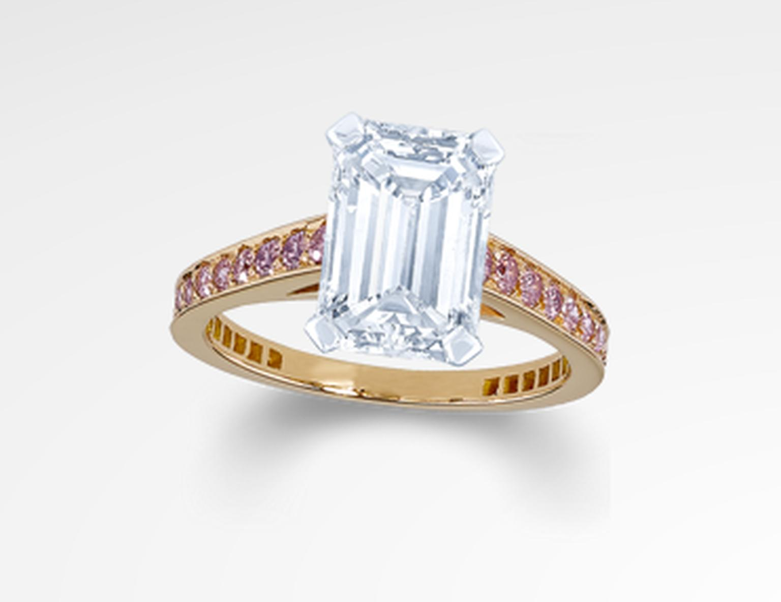 Graff emerald-cut diamond engagement ring in Graff's signature Flame setting with a rose gold band set with pink diamonds.