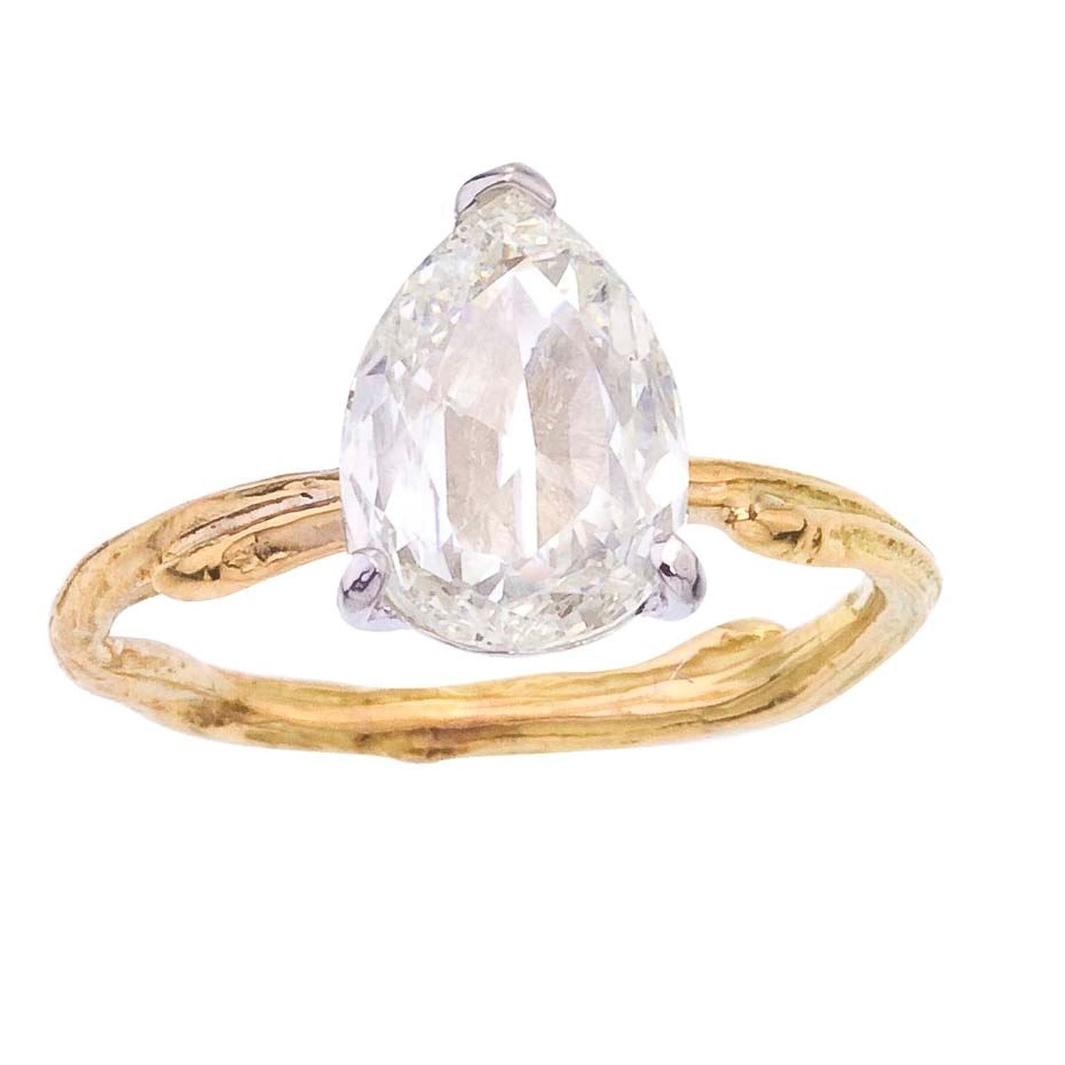 Barbara Michelle Jacobs pear-shaped diamond engagement ring, available with either a recycled yellow, white or rose gold twig band.