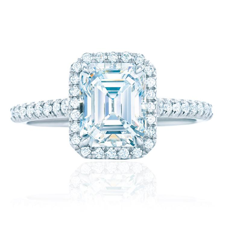 Tiffany Soleste emerald-cut diamond engagement ring featuring bead-set diamonds surrounding the central diamond and encircling the band (available from 0.25ct to 2.5ct).