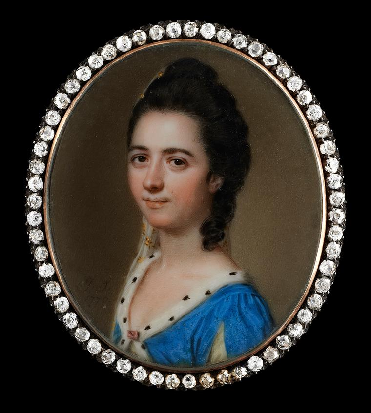 "John Smart portrait miniature surrounded by diamonds with a lady identified as ""Miss Byron"" wearing an ermine-trimmed blue dress. Image by: Philip Mould & Company."