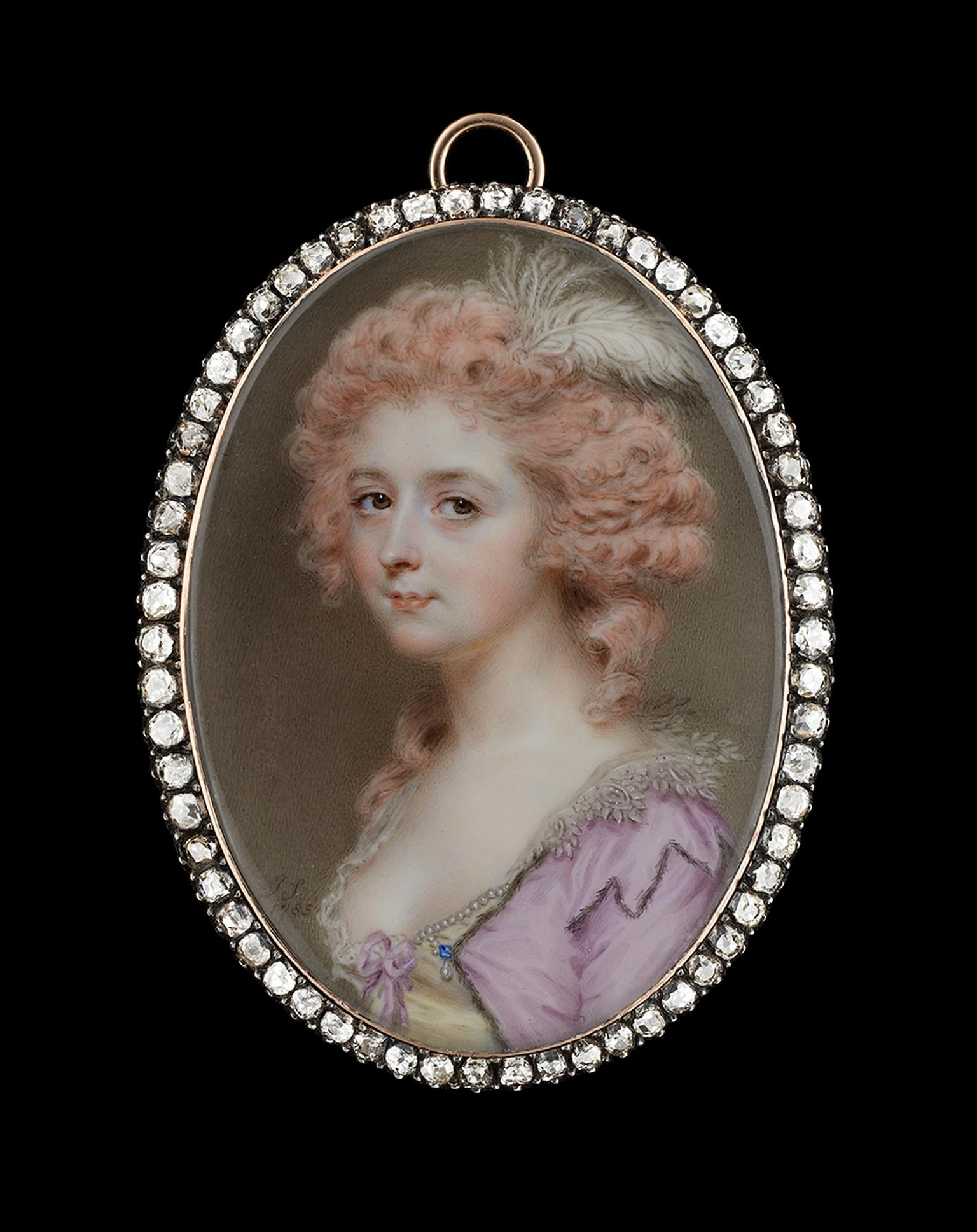 John Smart diamond encrusted miniature depicting a lady wearing a dress with a jewelled pearl and sapphire clasp. Image by: Philip Mould & Company.