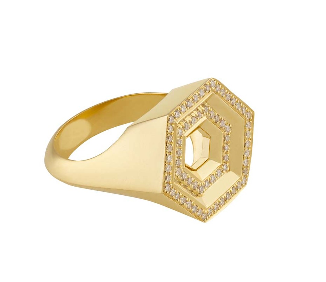 Noor Fares Hex Step multi-level ring crafted from yellow gold and set with white diamonds.