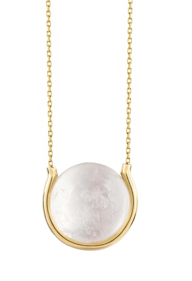 Noor Fares Diving ring with a rock crystal quartz set in yellow gold.