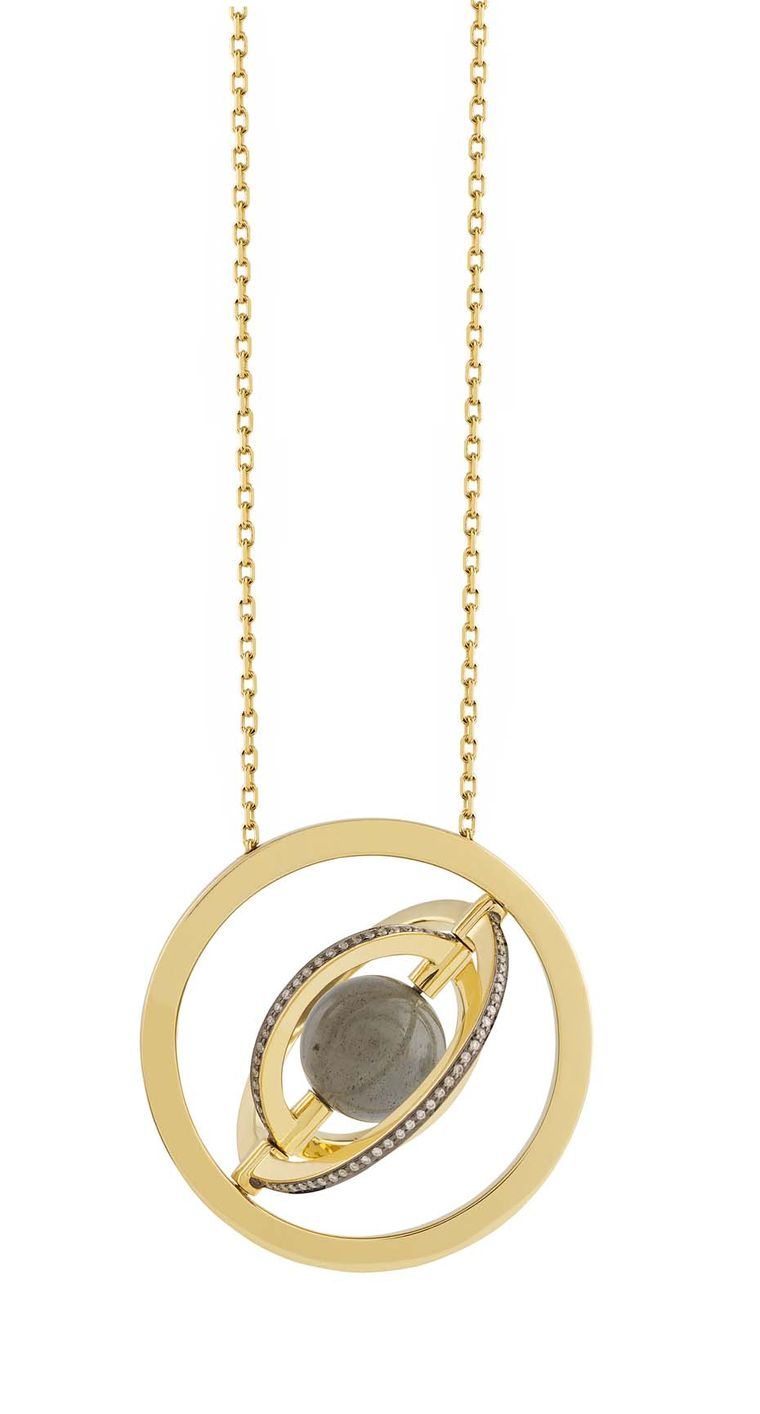 Noor Fares Urania pendant with a centre 7.17ct labradorite sphere surrounded by a rotating setting of three rings of yellow gold and diamonds.