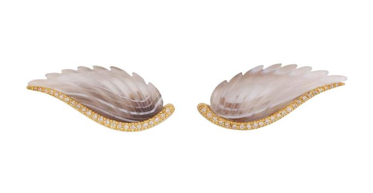 Noor Fares Fly me to the Moon yellow gold earrings featuring agate carved wings set with brown diamonds along the side.
