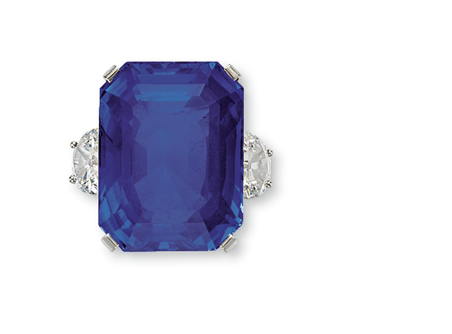 Christie's New York sold the 63.65ct Ceylon sapphire and diamond ring by Tiffany & Co. for $587,000.