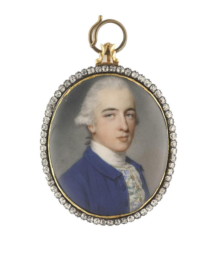 John Smart portrait miniature of Richard Twining, scion of the famous tea dynasty, surrounded by diamonds. Image by: Philip Mould & Company.