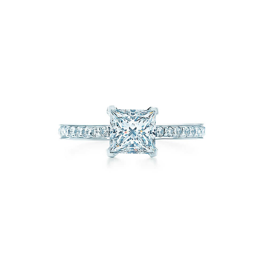 Tiffany & Co. Grace princess-cut diamond engagement ring with a diamond pavé band (from £9,850).
