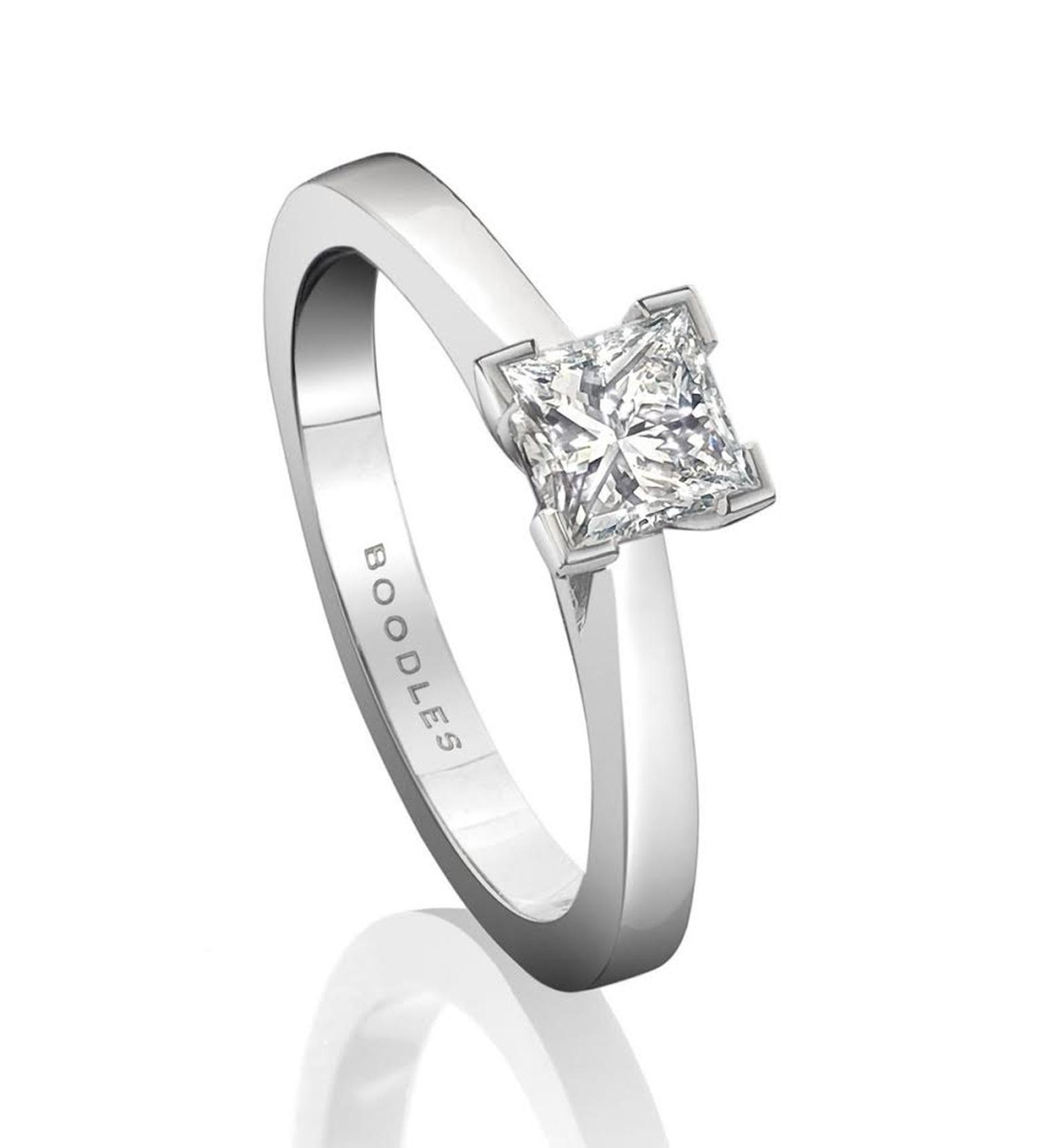 Boodles princess-cut diamond engagement ring (from £3,600).