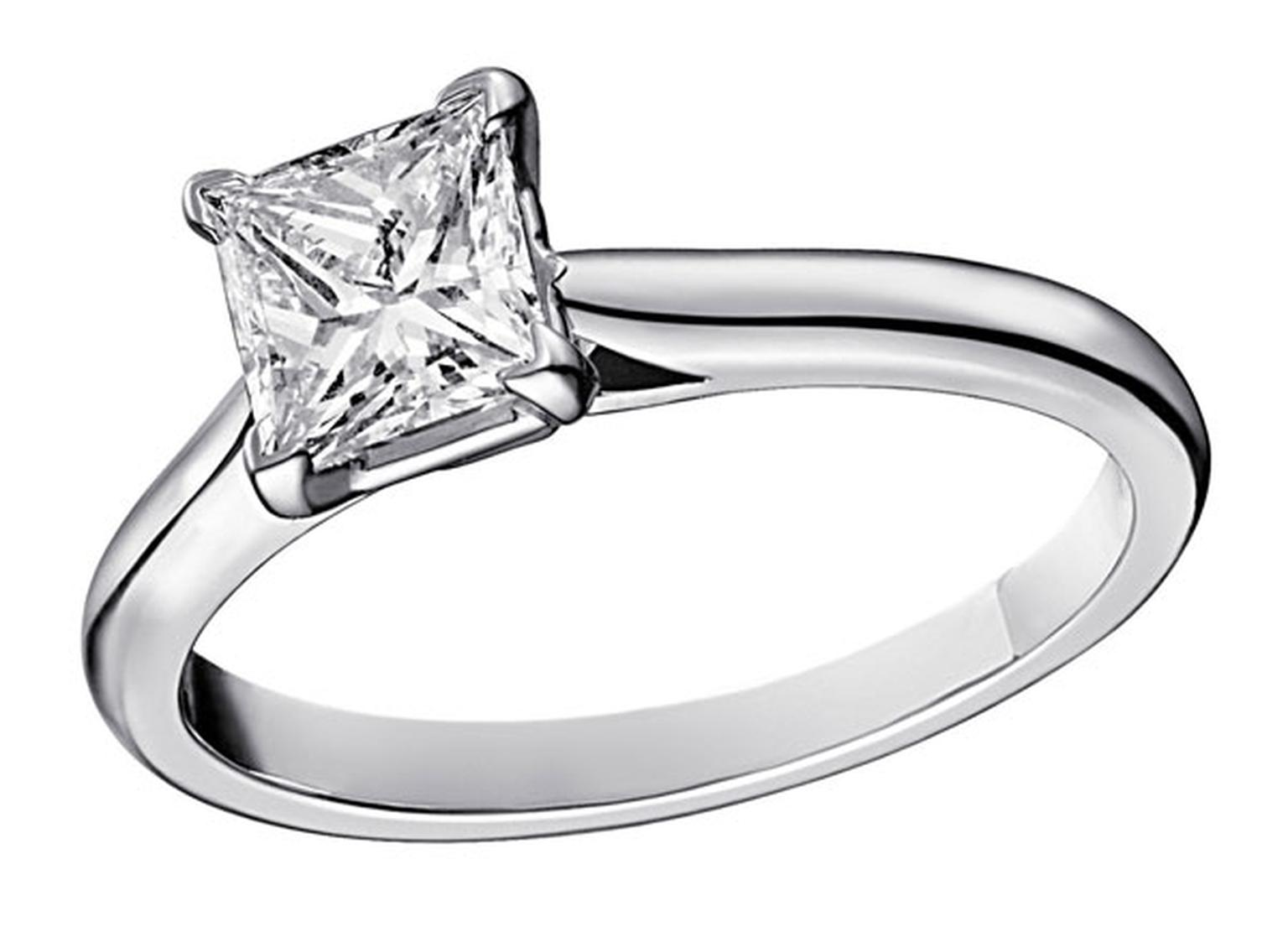 Cartier Solitaire 1895  diamond engagement ring set in platinum with a central princess-cut diamond.