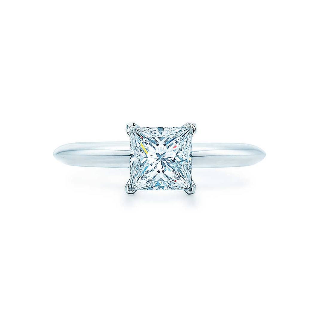 Tiffany & Co. princess-cut diamond solitaire engagement ring in platinum (from £8,700).