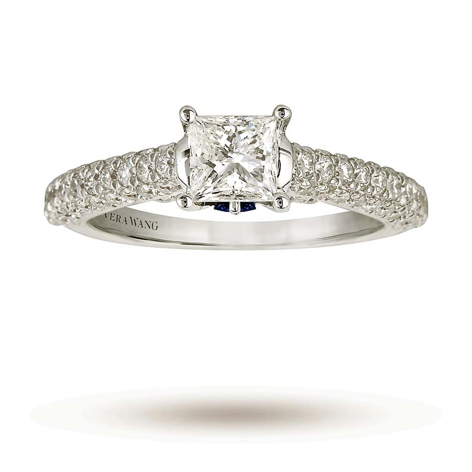 Vera Wang princess-cut diamond engagement ring with a pavé band (£6,000).