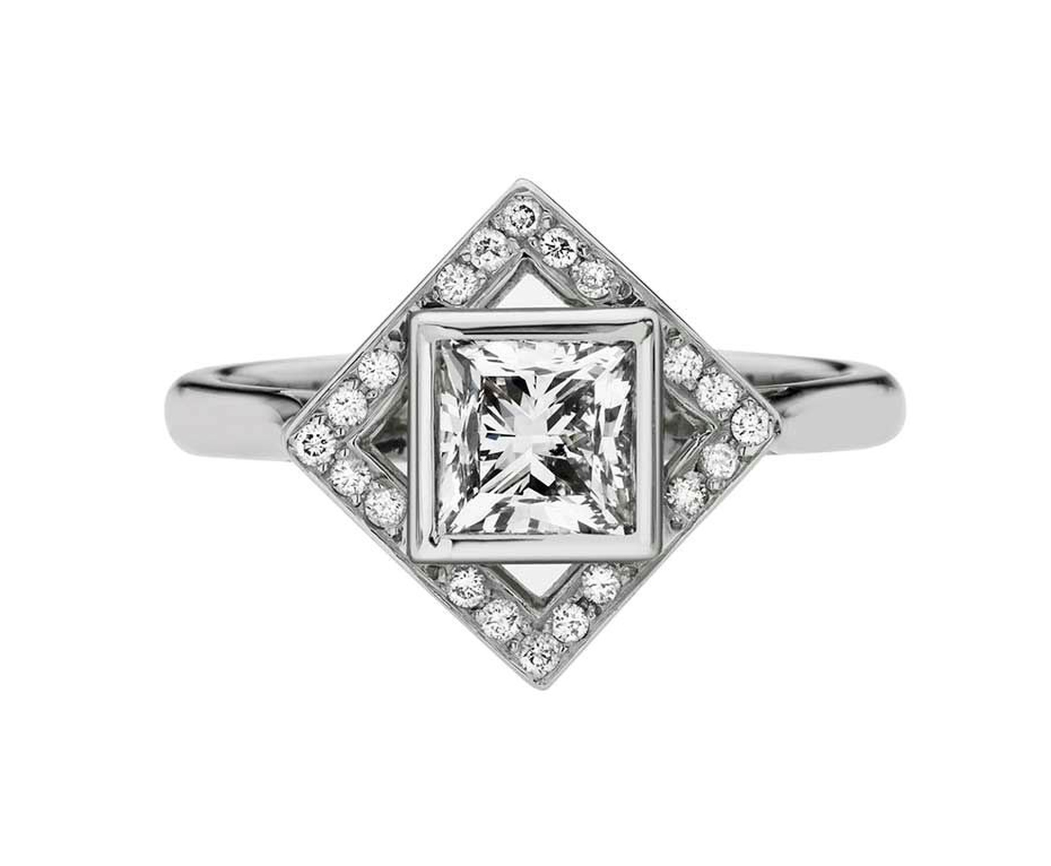 Ethan and Co. princess-cut diamond solitaire ring surrounded by a square of diamond pavé tilted at a different angle to the central stone.