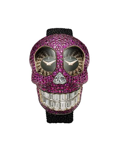 The cavernous eye wells of de GRISOGONO's new Crazy Skull high jewellery watch are set with a hypnotic spiral of black and white diamonds, which draw the eye to the two separate dials - a clever way to display the dual time zones.