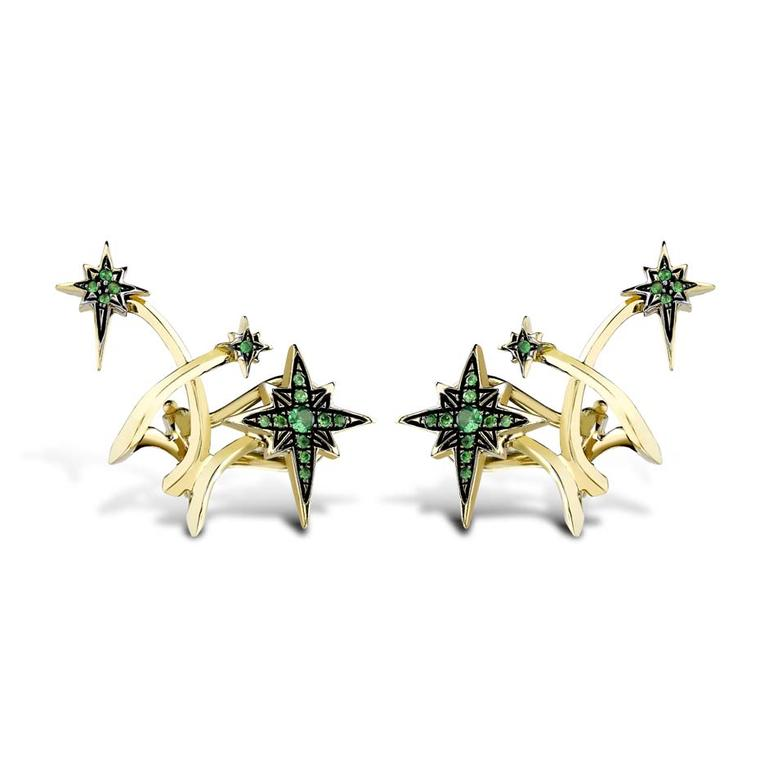 Venyx Lady Australis tsavorite ear cuffs in yellow gold and black rhodium.