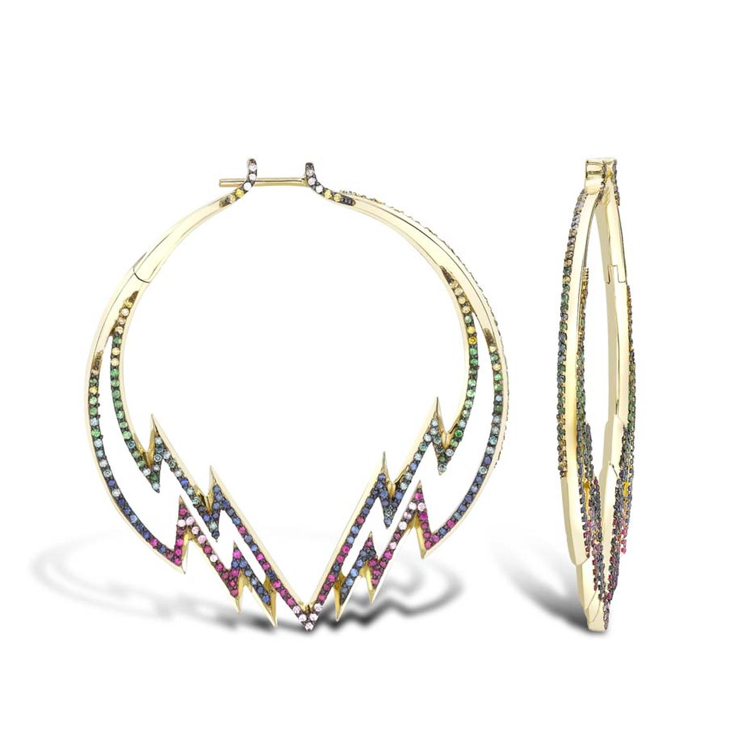 Venyx Electra Hoop earrings with coloured gemstones, from the new Theiya collection.