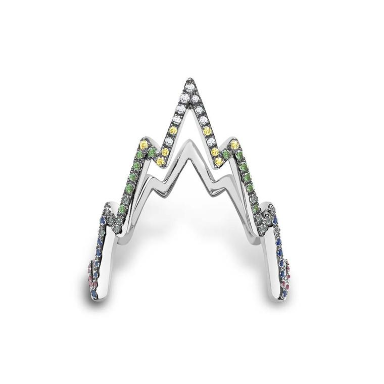 Venyx white gold Miss Zeus ring with coloured diamonds.