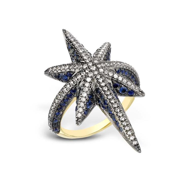 Venyx Star ring with blue sapphires and diamonds.