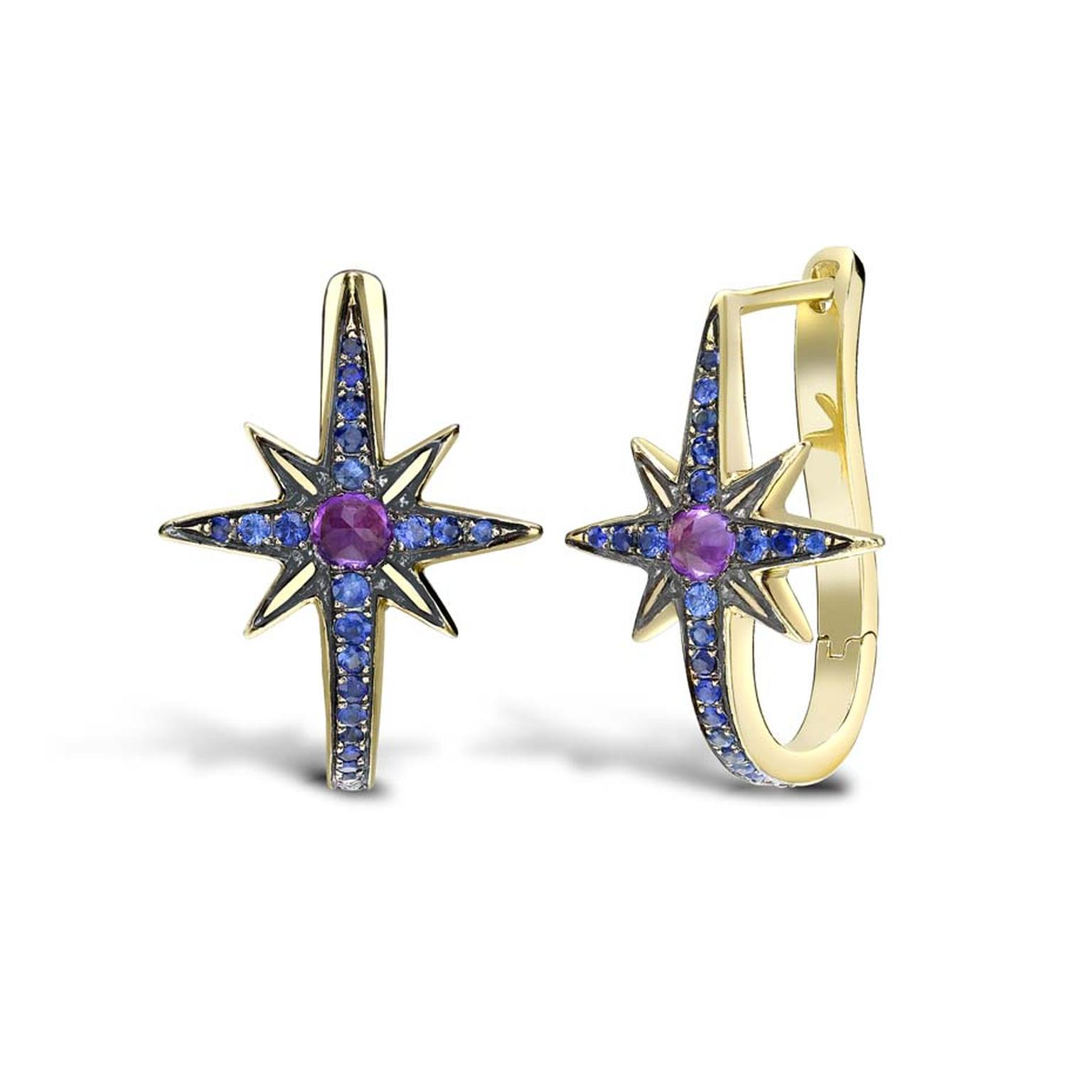 Venyx Star sapphire and amethyst earrings in yellow gold, from the new Theiya collection.