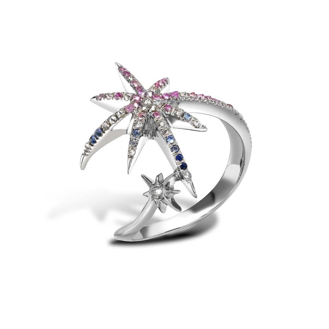 Venyx white gold Meteoryx Aurora ring with fancy sapphires and diamonds.