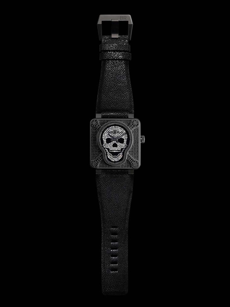 Bell & Ross' BR 01 Skull and Cross Bones watch features a smiling skull at the centre of a studded white diamond dial while black diamonds cover the bones, bezel and case front.