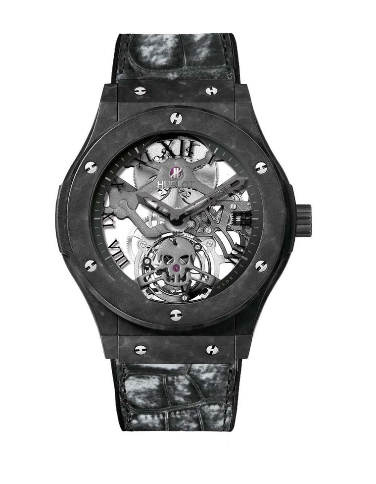 Hublot's Classic Fusion Tourbillon Skull watch features a 45mm case made of lightweight ceramic-coated aluminium and, in the quest for lightness, the manual-winding movement has been elaborately skeletonised, shaving off any superfluous parts.