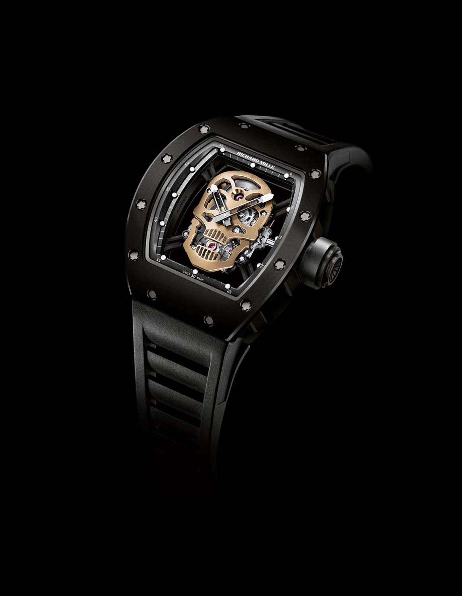 Richard Mille's RM 52-01 Skull watch has been sculpted in red gold and housed in a case made from nano-ceramic. This high-tech material is highly resistant to scratches and resilient to blows to protect the manual winding tourbillon movement nestled insid