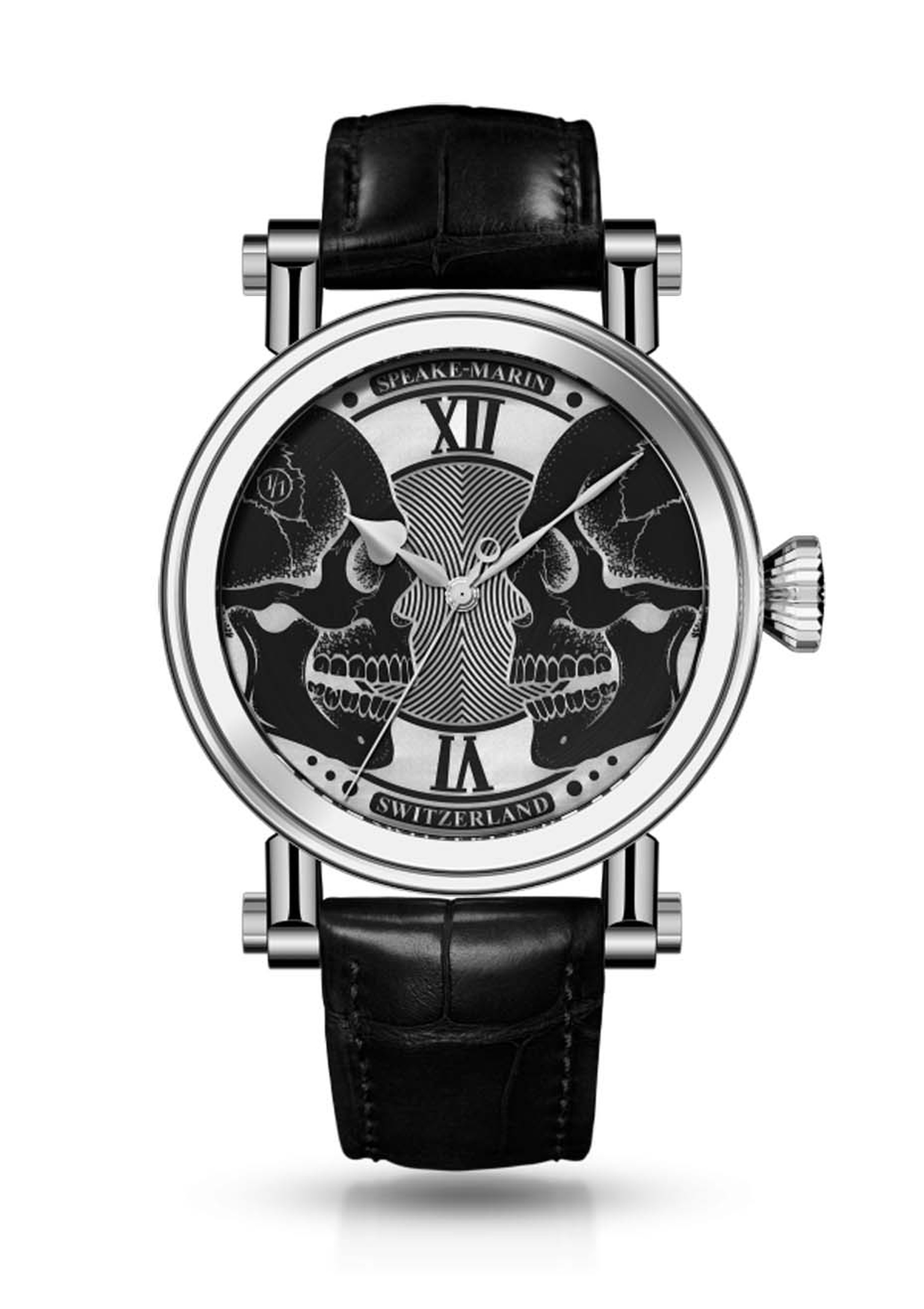 Speake Marin's Face to Face double skull watch is an ideal everyday memento mori featuring classical skulls artfully etched on the dial with an innovative chemical technique.