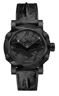 The RJ-Romain Jerome Batman-DNA watch features a dial with a black lacquered Batman symbol surrounded by a halo of luminescence - the legendary Bat-Signal - set against the Gotham City skyline. Fitted with a mechanical self-winding movement, the watch is