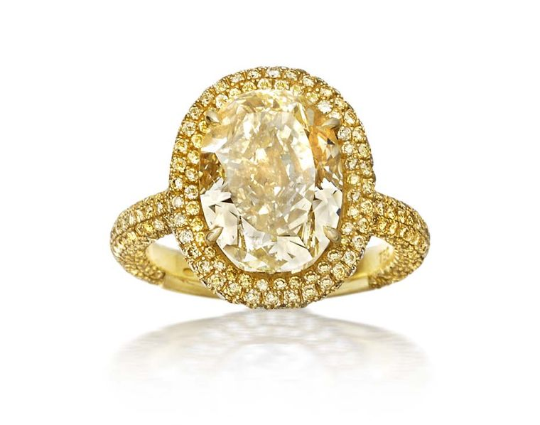 Amrapali yellow diamond engagement ring with a double band of yellow pavé diamonds (£POA).