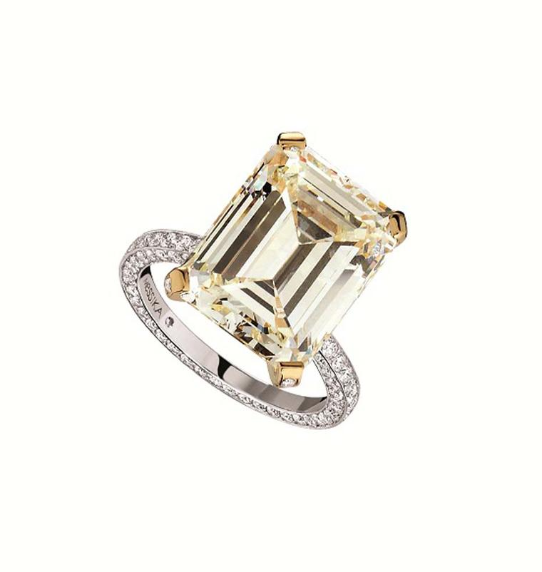 Messika 11.73ct emerald-cut yellow diamond engagement ring with a white diamond pavé band (£POA).