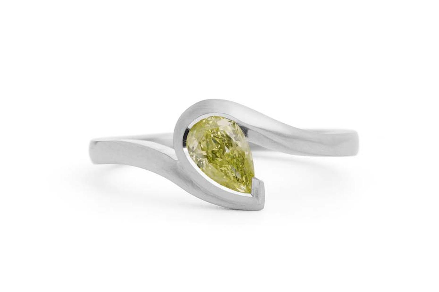 McCaul Goldsmiths Wave pear-shaped yellow diamond engagement ring (£2,800).