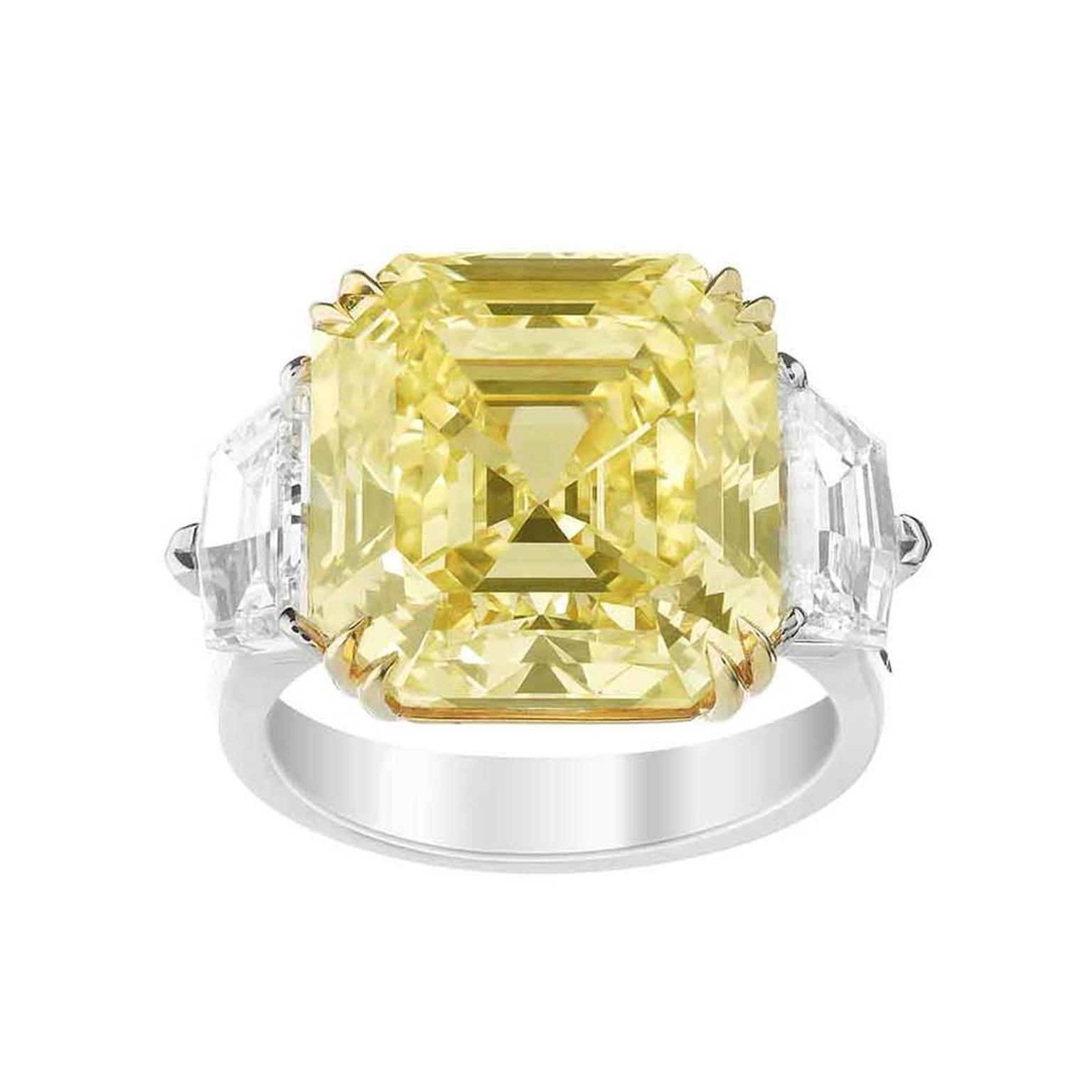 Boucheron Jaune Imperial 15.00ct emerald cut yellow diamond engagement ring in white gold and platinum flanked by two colourless diamonds (£POA).