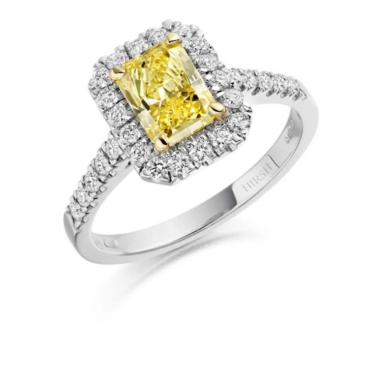 Hirsh Regal yellow diamond engagement ring with a 1.01ct radiant-cut natural Fancy Vivid yellow diamond set in platinum surrounded by brilliant-cut diamonds (£25,000).