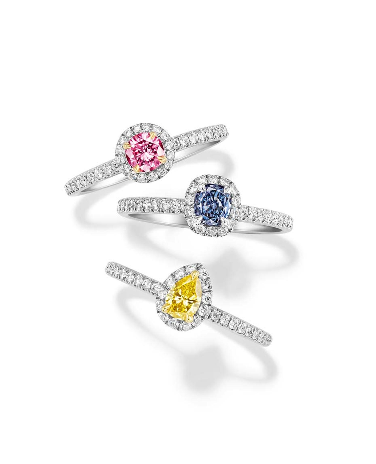 Harry Winston coloured diamond engagement rings with pavé diamonds surrounding the central diamond and band.