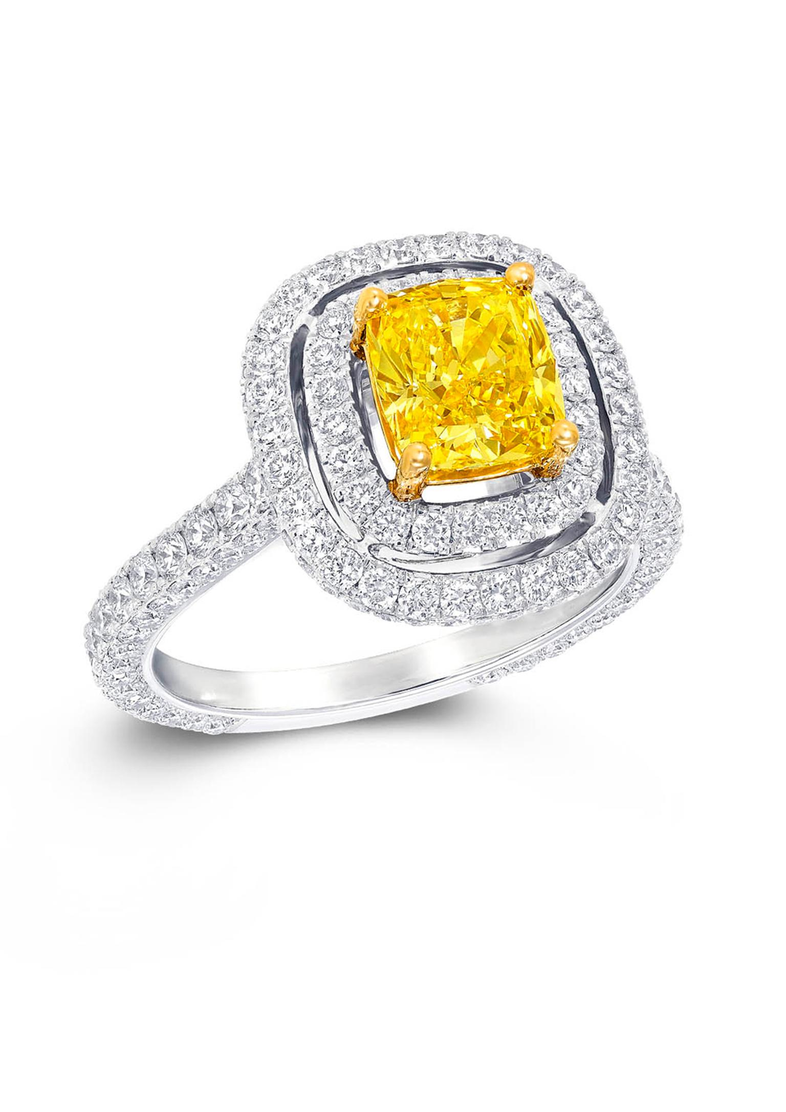 Graff Twin Constellation engagement ring with a double pavé setting surrounding a yellow diamond centre (£POA).