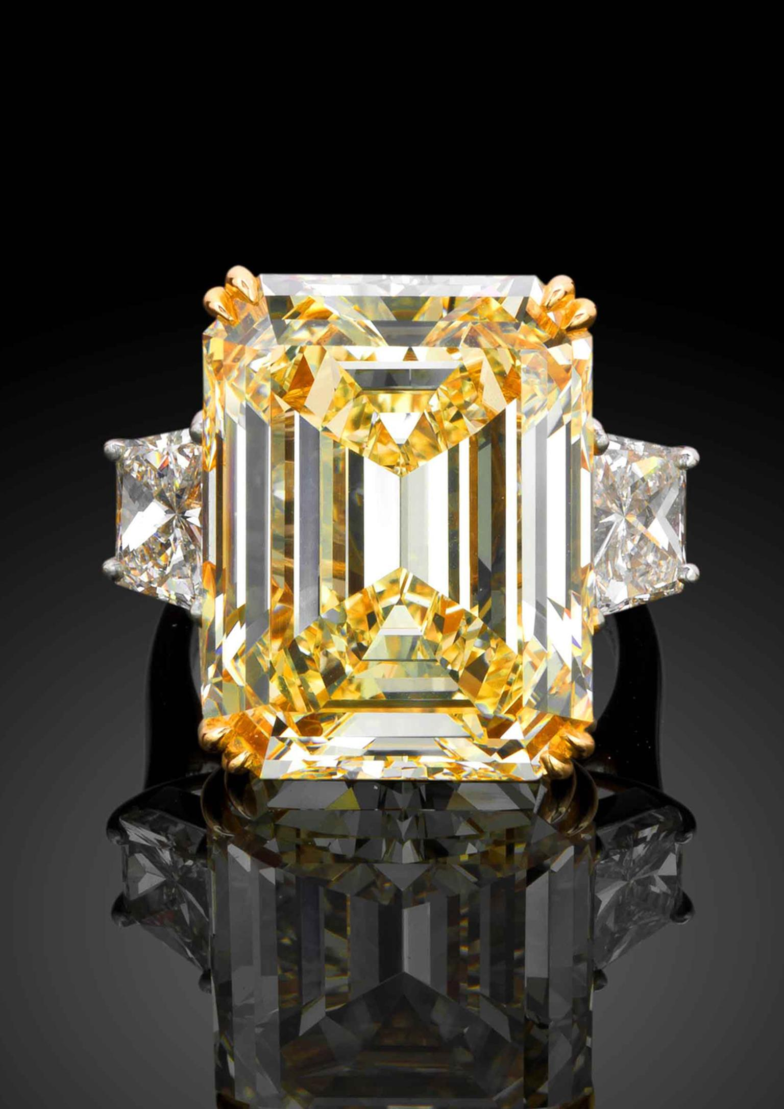 Star Diamond yellow diamond engagement ring with a 21.18ct VS1 clarity emerald-cut yellow diamond flanked by two trapeze-cut white diamonds (£POA).