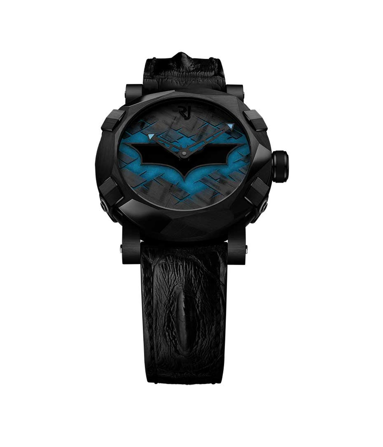 Swiss watchmaker Romain Jerome is celebrating the 75th anniversary of the Dark Knight with the RJ-Romain Jerome Batman-DNA watch, which recreates the angular contours of the Batmobile on its dramatic 46mm black PVD-coated case watch.