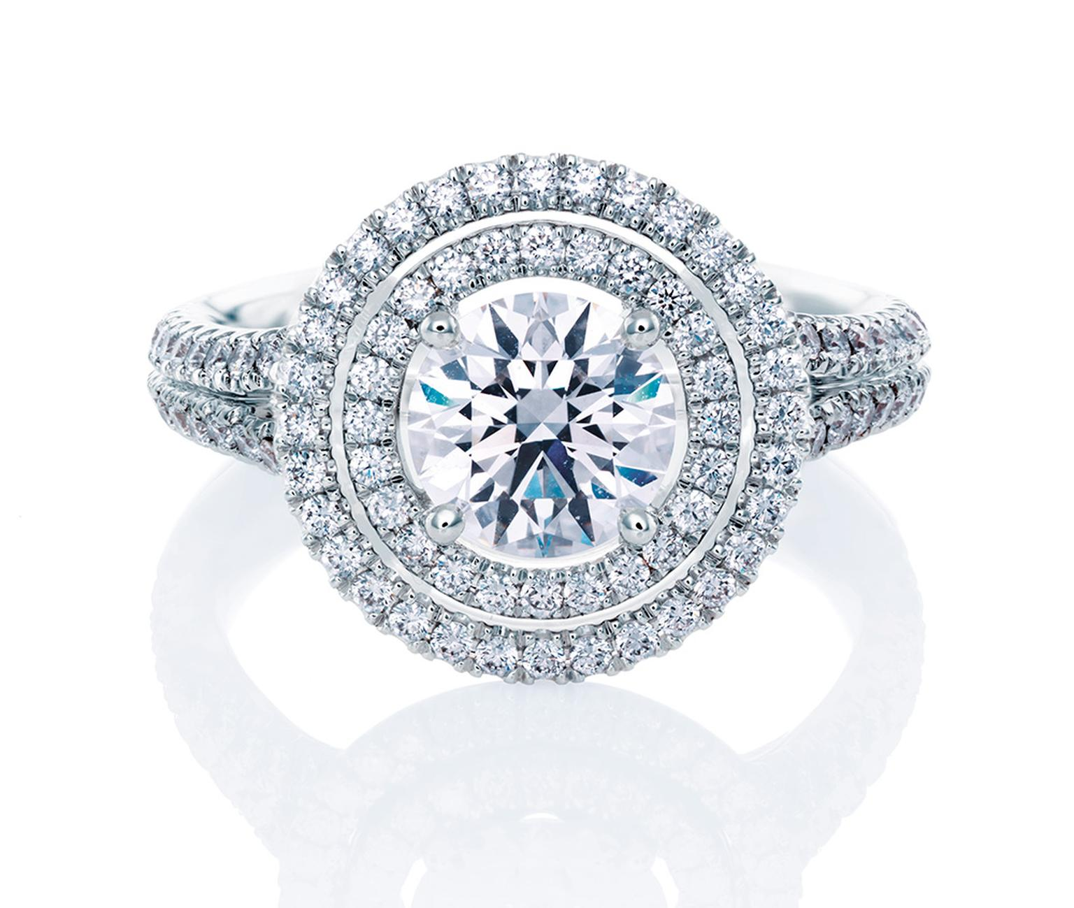 De Beers Aura Double Halo ring in platinum, set with a central round, brilliant-cut diamond and micro pavé diamonds (from: £7,650).