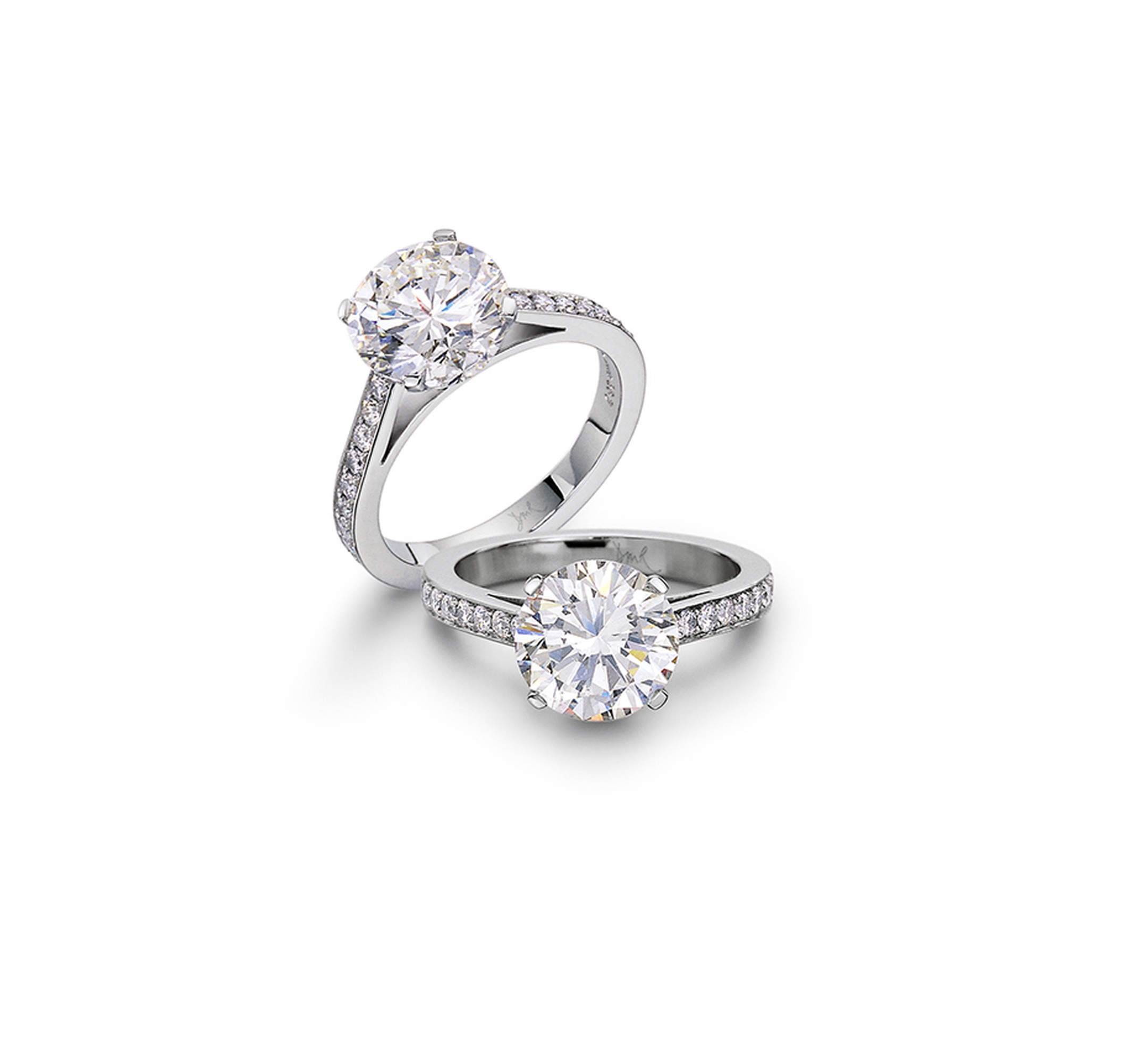 David Robinson Speechless Engagement Ring featuring a 2.54ct round brilliant-cut diamond with diamond-set shoulders in platinum (£47,500).