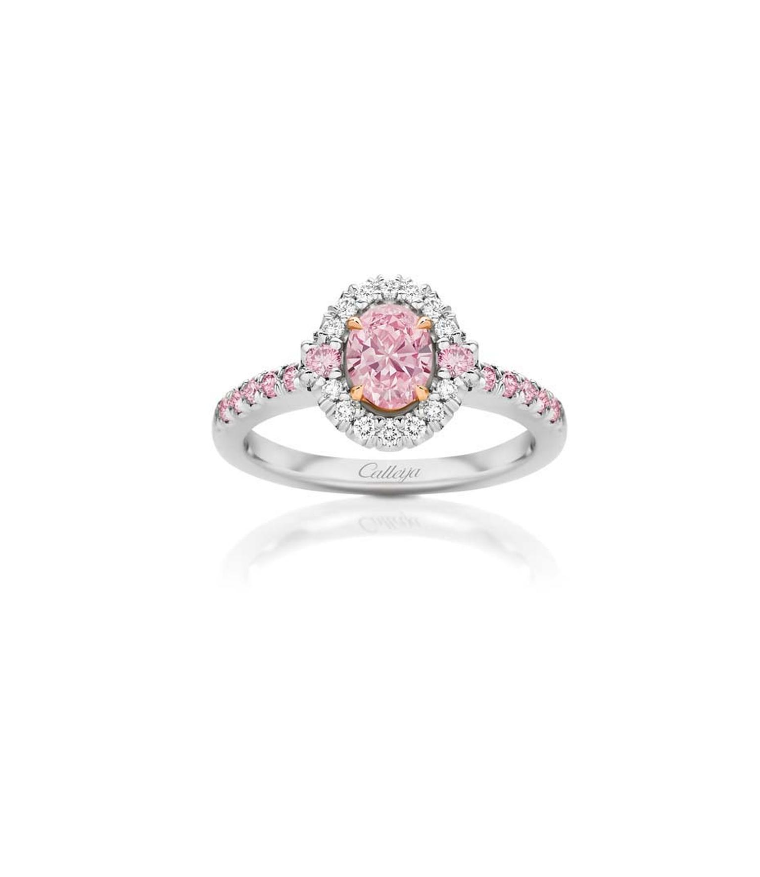Calleija Elyssa pink diamond engagement ring featuring a brilliant-cut Fancy Intense Purplish Pink diamond centre surrounded by pink and white diamonds.