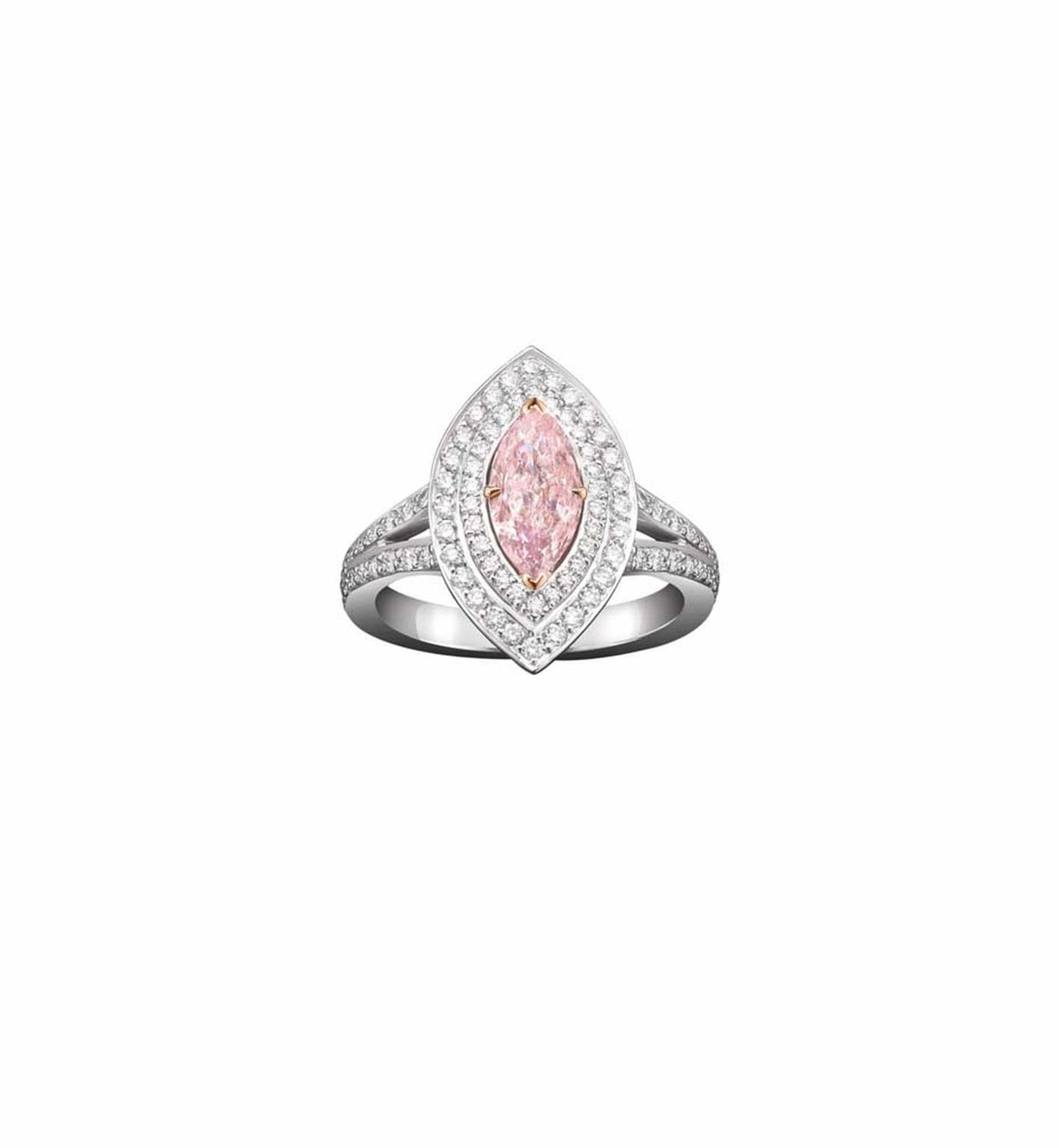 Boodles marquise-cut pink diamond engagement ring surrounded by a double pavé of white diamonds leading to a double pavé ban