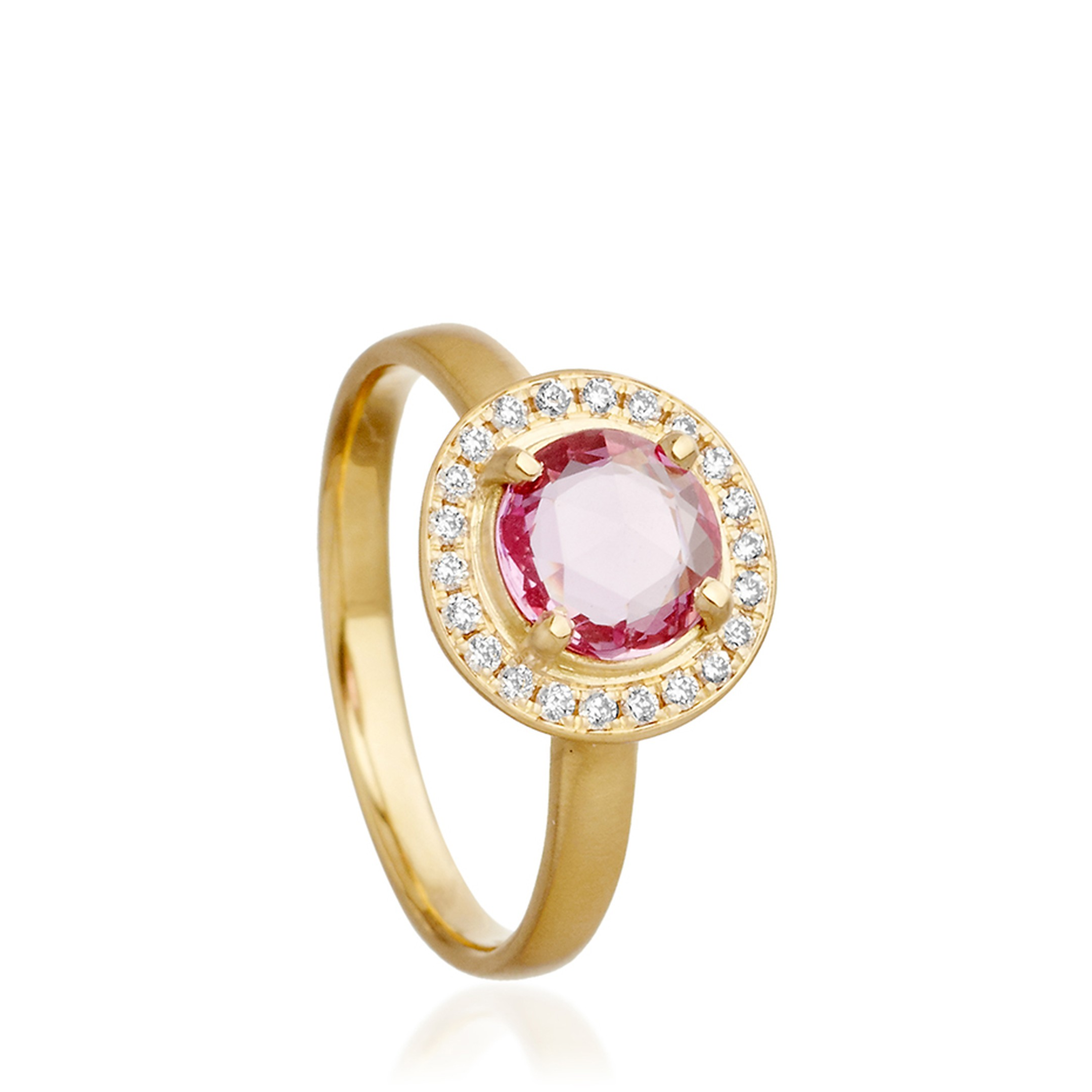 Anne Sportun sapphire engagement ring from Astley Clarke with a pink sapphire centre stone set in gold and surrounded by a circle of channel-set white diamonds (£2,700).