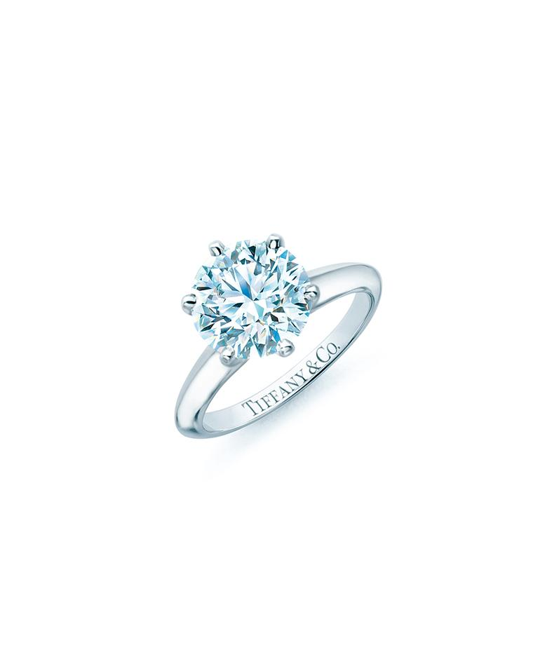 Created over a century ago, the classic Tiffany Setting engagement ring features a six-prong setting which lifts the round brilliant diamond up into the light, intensifying its fire and sparkle for all to see.