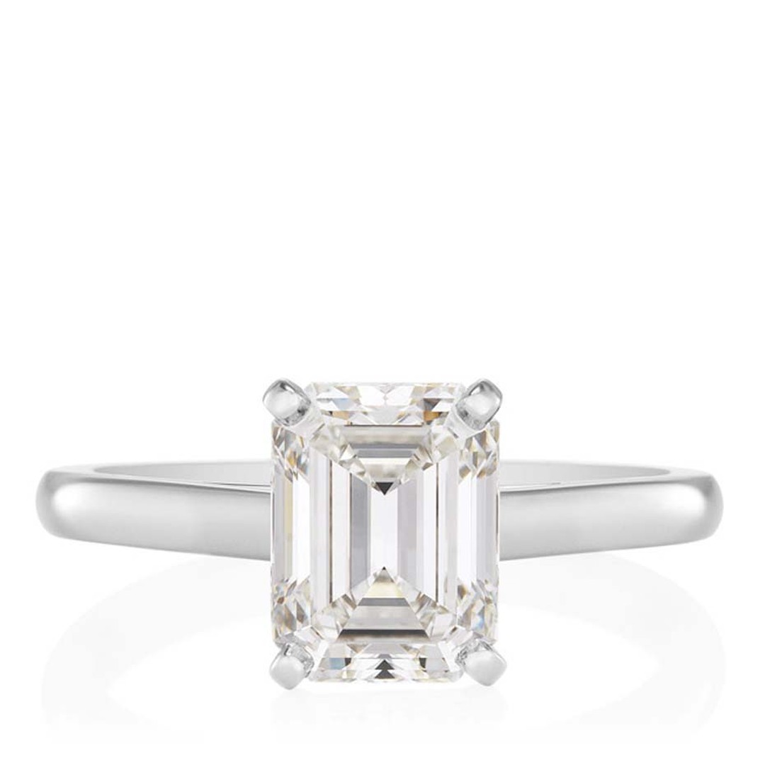 De Beers emerald-cut diamond solitaire engagement ring (from £2,650).